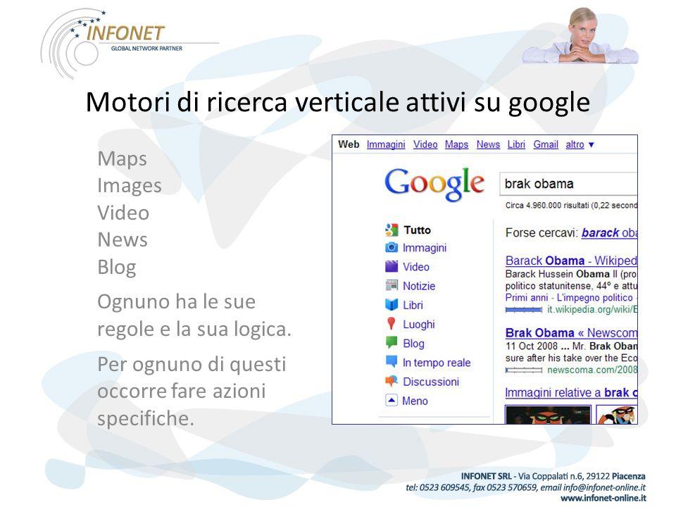 Motori di ricerca verticale attivi su google Maps Images Video News Blog Ognuno ha le sue regole e la sua logica.