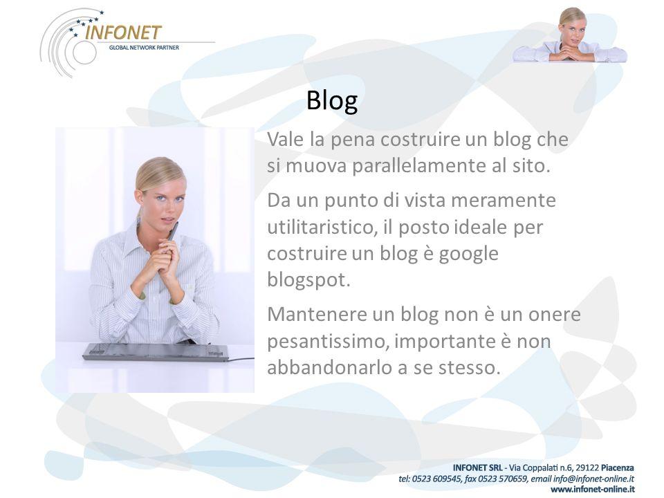 Blog Vale la pena costruire un blog che si muova parallelamente al sito.