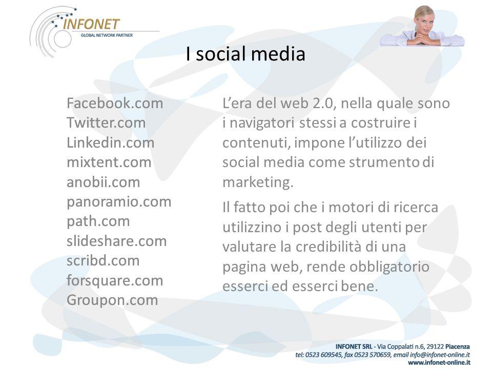 I social media Facebook.com Twitter.com Linkedin.com mixtent.com anobii.com panoramio.com path.com slideshare.com scribd.com forsquare.com Groupon.com Lera del web 2.0, nella quale sono i navigatori stessi a costruire i contenuti, impone lutilizzo dei social media come strumento di marketing.