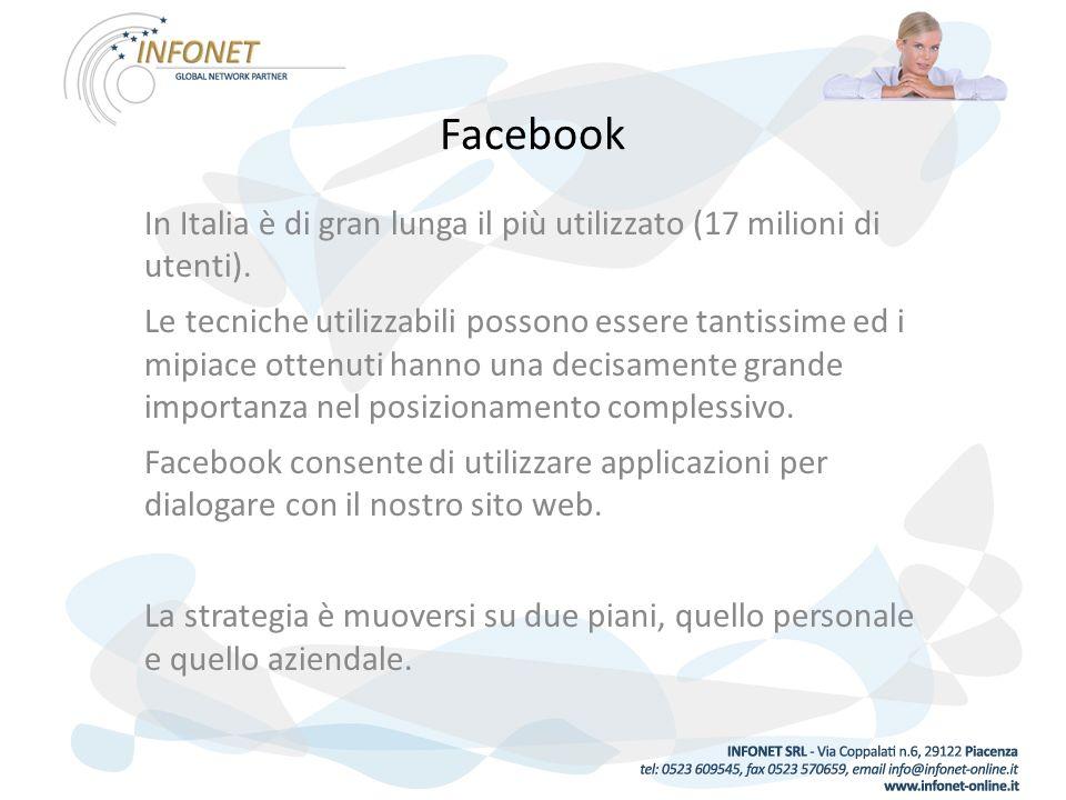 Facebook In Italia è di gran lunga il più utilizzato (17 milioni di utenti).