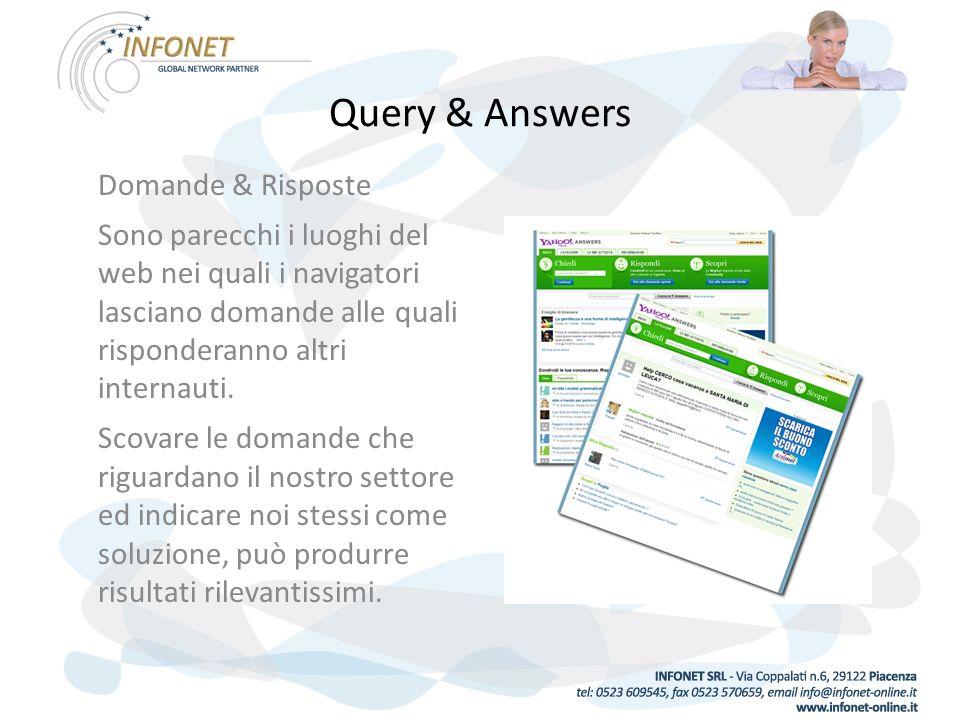 Query & Answers Domande & Risposte Sono parecchi i luoghi del web nei quali i navigatori lasciano domande alle quali risponderanno altri internauti.