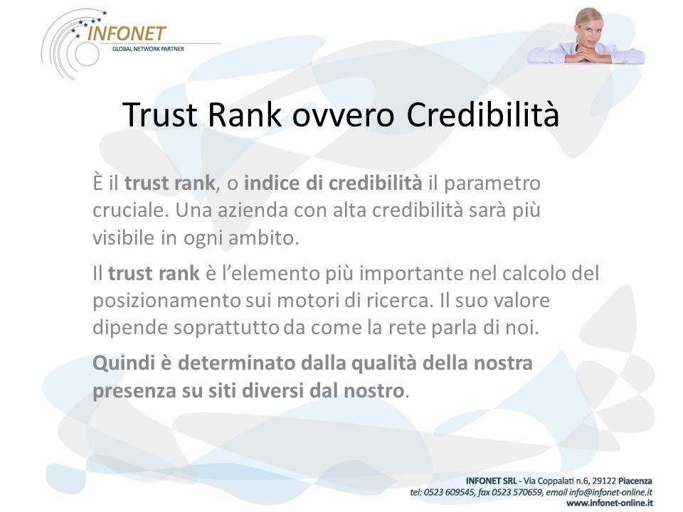 Trust Rank ovvero Credibilità È il trust rank, o indice di credibilità il parametro cruciale.