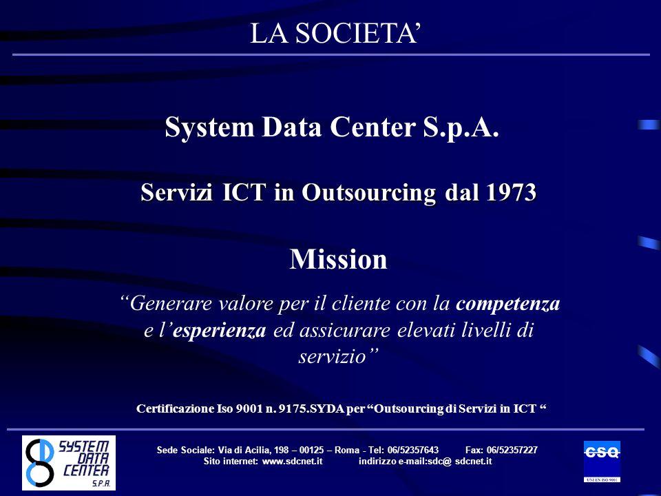 Sede Sociale: Via di Acilia, 198 – 00125 – Roma - Tel: 06/52357643 Fax: 06/52357227 Sito internet: www.sdcnet.it indirizzo e-mail:sdc@ sdcnet.it System Data Center S.p.A.