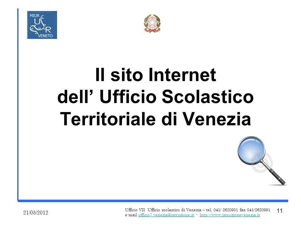 Il sito Internet dell Ufficio Scolastico Territoriale di Venezia 21/05/2012 Ufficio VII Ufficio scolastico di Venezia – tel.