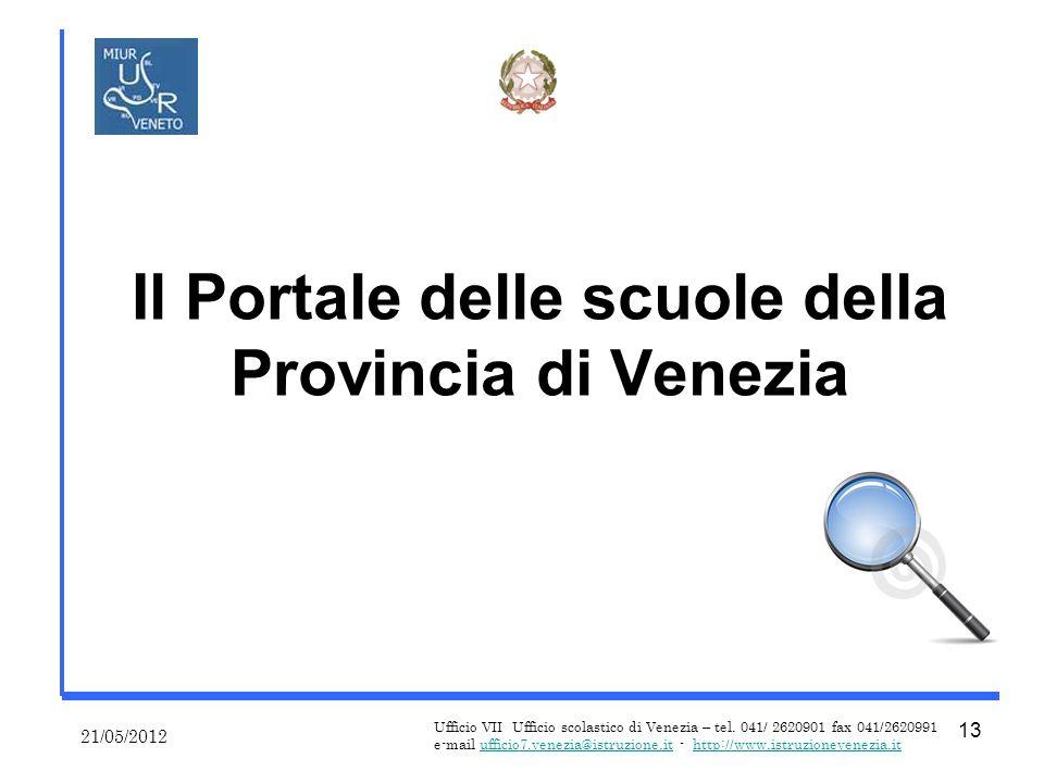 Il Portale delle scuole della Provincia di Venezia 21/05/2012 Ufficio VII Ufficio scolastico di Venezia – tel.