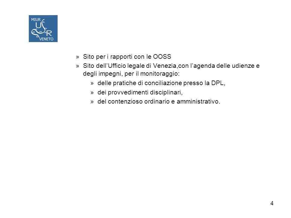 »Sito per i rapporti con le OOSS »Sito dellUfficio legale di Venezia,con lagenda delle udienze e degli impegni, per il monitoraggio: »delle pratiche di conciliazione presso la DPL, »dei provvedimenti disciplinari, »del contenzioso ordinario e amministrativo.