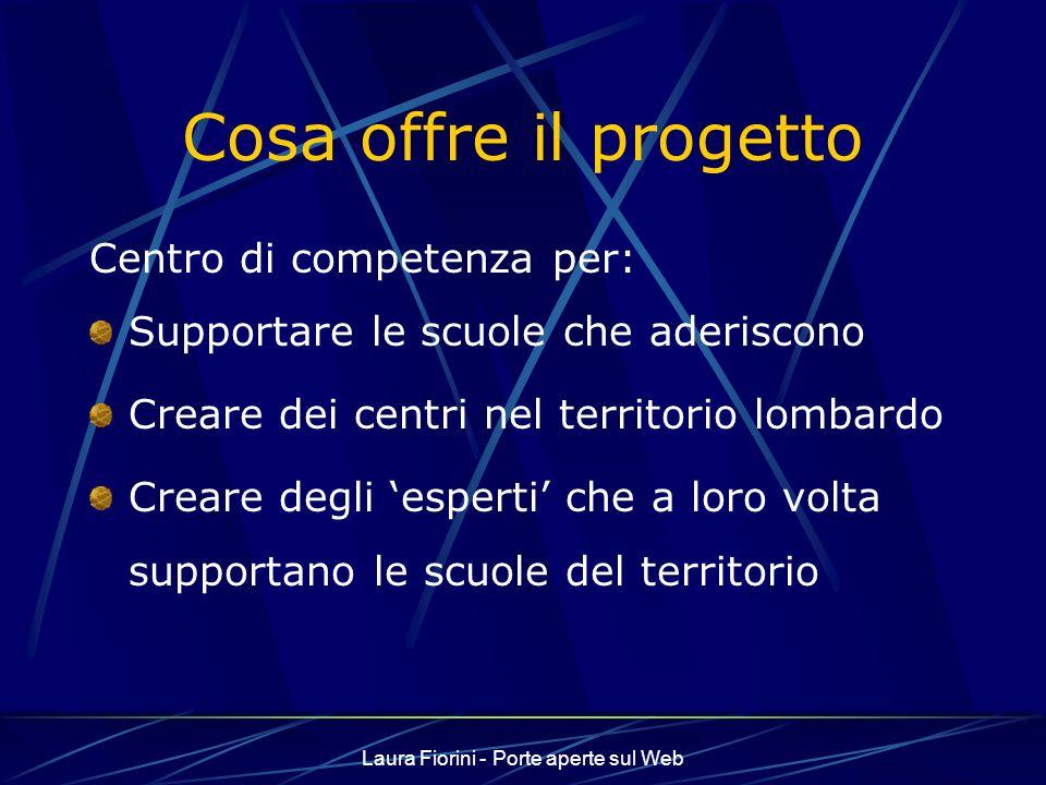 Laura Fiorini - Porte aperte sul Web Cosa offre il progetto Centro di competenza per: Supportare le scuole che aderiscono Creare dei centri nel territorio lombardo Creare degli esperti che a loro volta supportano le scuole del territorio