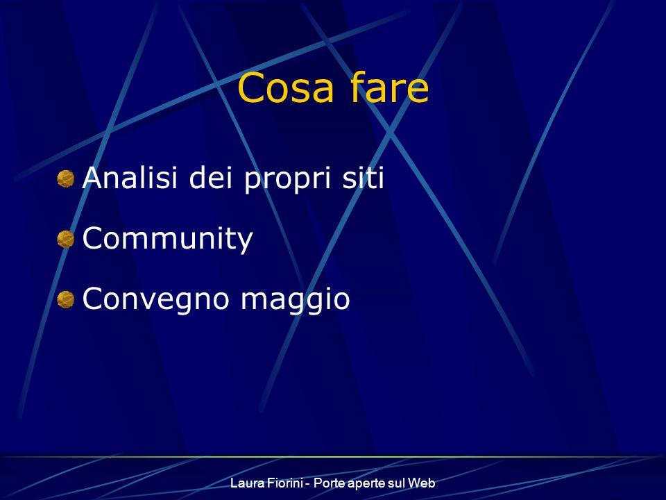 Laura Fiorini - Porte aperte sul Web Cosa fare Analisi dei propri siti Community Convegno maggio