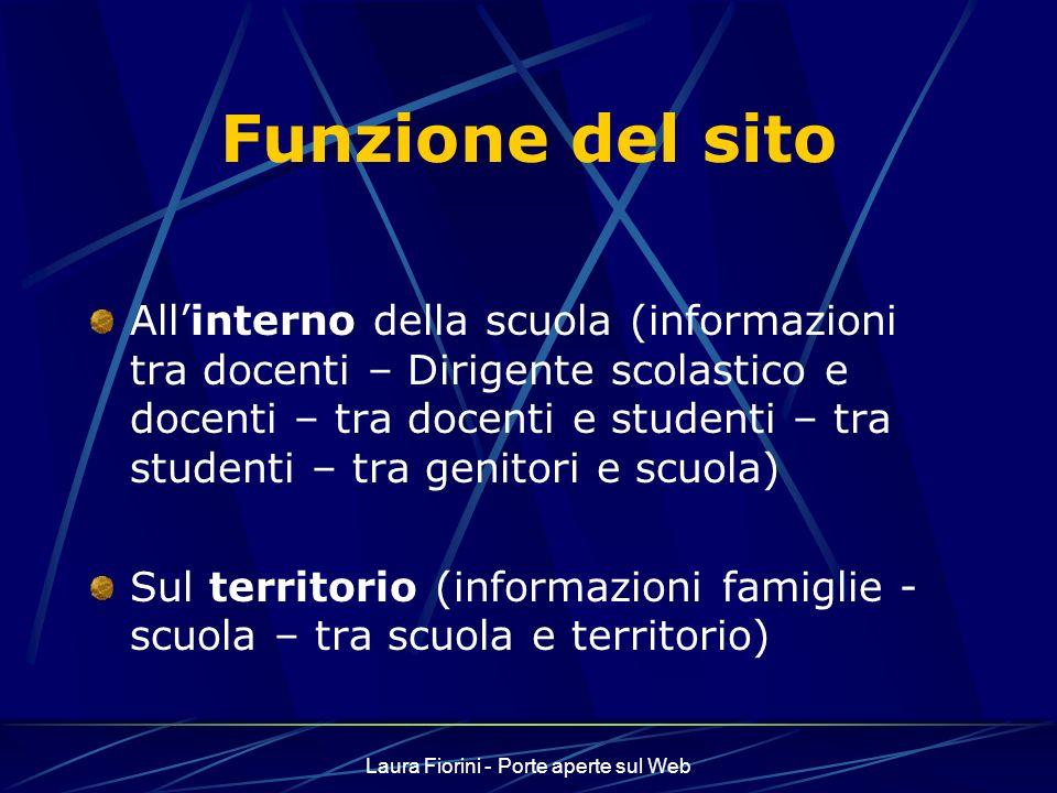 Laura Fiorini - Porte aperte sul Web Chi fa il sito Docenti di buona volontà Progetto della scuola – POF Team – progettazione condivisa