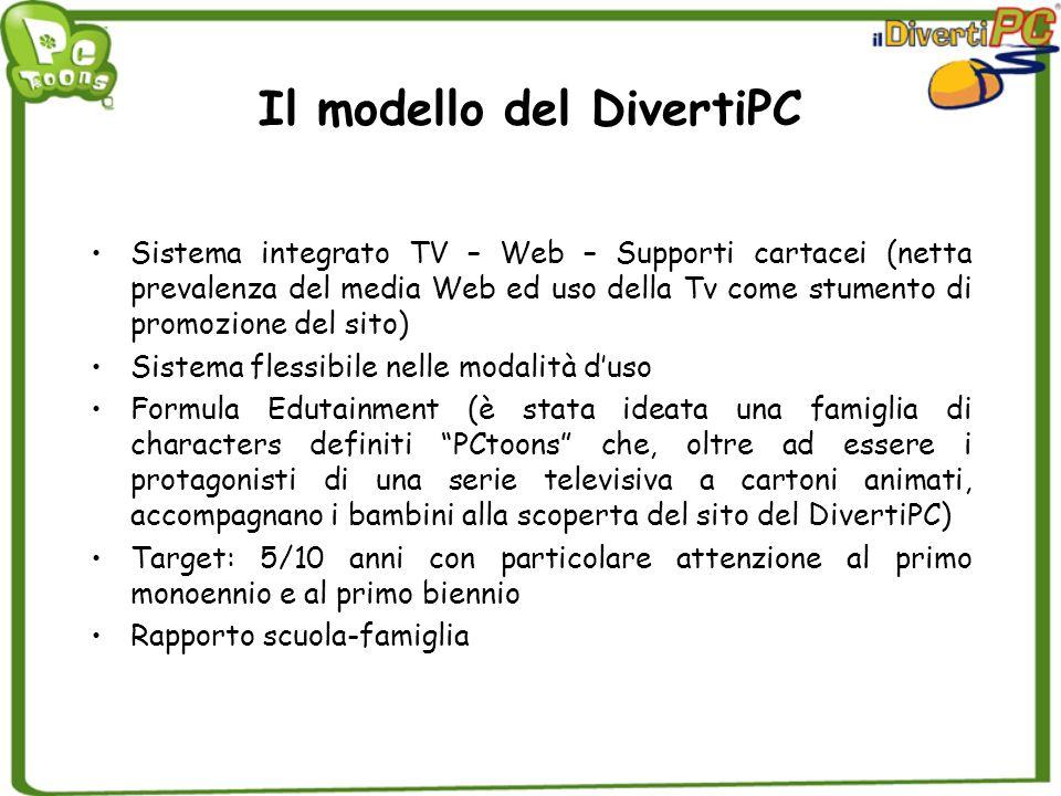 Il modello del DivertiPC Sistema integrato TV – Web – Supporti cartacei (netta prevalenza del media Web ed uso della Tv come stumento di promozione de