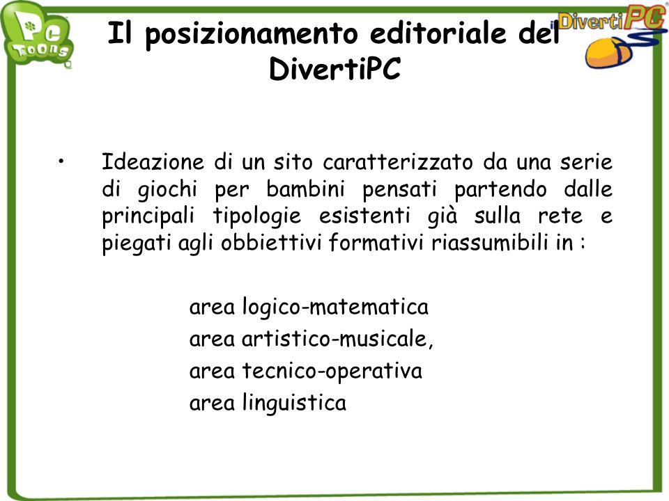 Il posizionamento editoriale del DivertiPC Ideazione di un sito caratterizzato da una serie di giochi per bambini pensati partendo dalle principali ti
