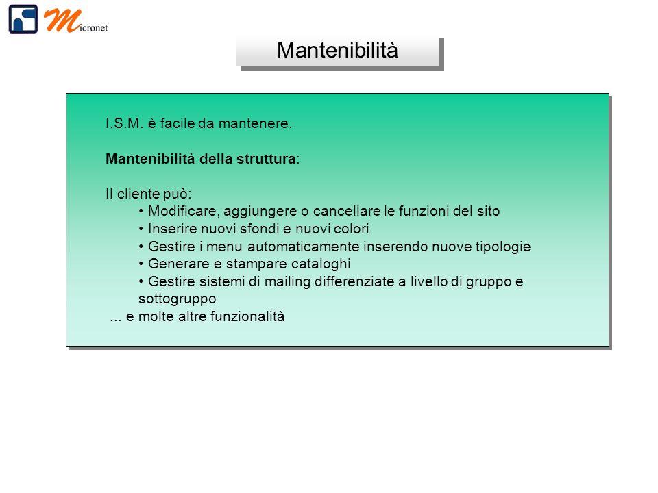 Mantenibilità I.S.M. è facile da mantenere. Mantenibilità della struttura: Il cliente può: Modificare, aggiungere o cancellare le funzioni del sito In