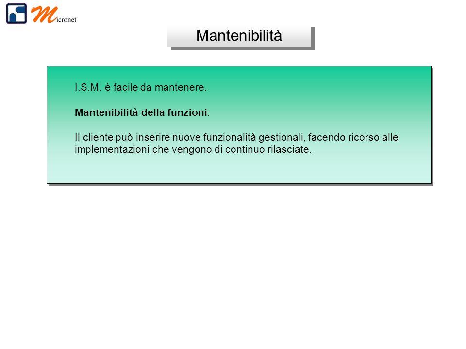 Mantenibilità I.S.M. è facile da mantenere. Mantenibilità della funzioni: Il cliente può inserire nuove funzionalità gestionali, facendo ricorso alle