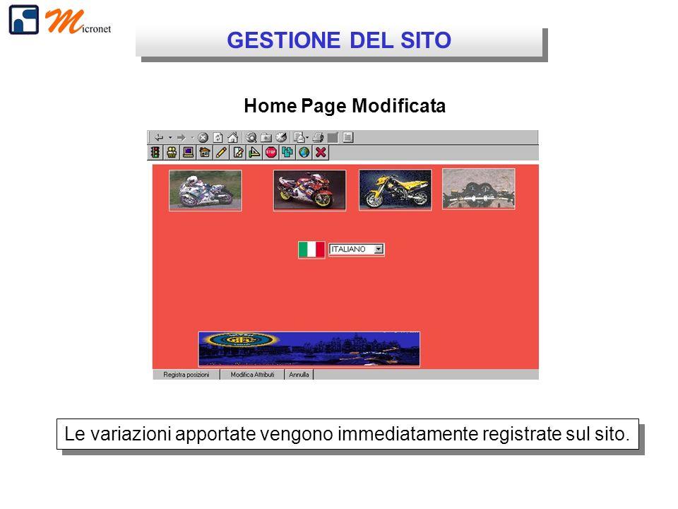 GESTIONE DEL SITO Home Page Modificata Le variazioni apportate vengono immediatamente registrate sul sito.
