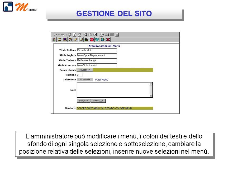 GESTIONE DEL SITO Lamministratore può modificare i menù, i colori dei testi e dello sfondo di ogni singola selezione e sottoselezione, cambiare la posizione relativa delle selezioni, inserire nuove selezioni nel menù.