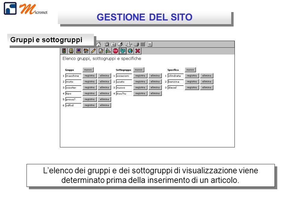 GESTIONE DEL SITO Gruppi e sottogruppi Lelenco dei gruppi e dei sottogruppi di visualizzazione viene determinato prima della inserimento di un articol