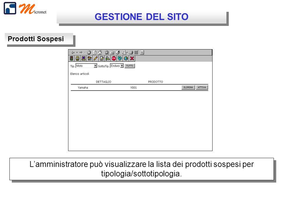 GESTIONE DEL SITO Prodotti Sospesi Lamministratore può visualizzare la lista dei prodotti sospesi per tipologia/sottotipologia.