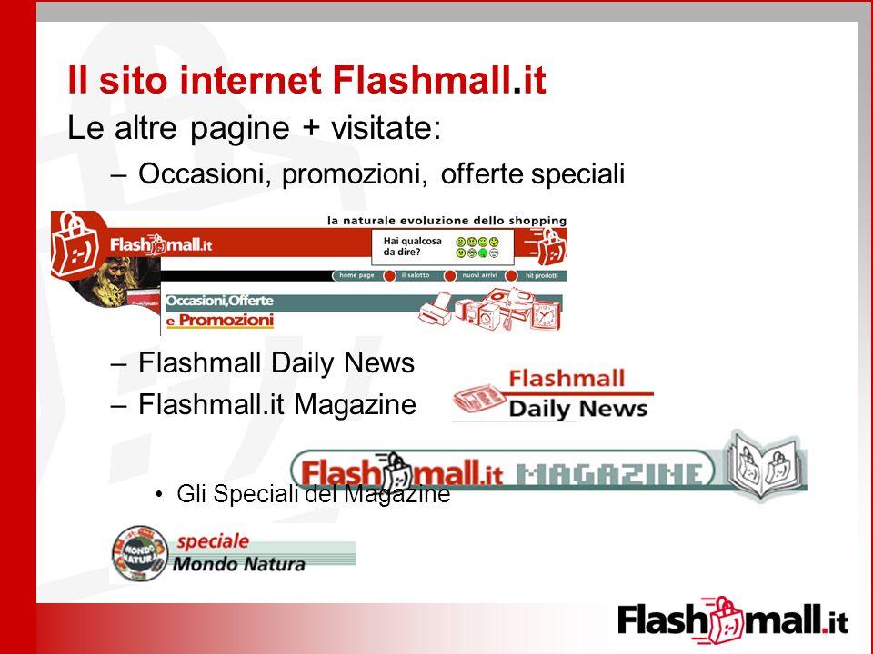 Il sito internet Flashmall.it Le altre pagine + visitate: –Occasioni, promozioni, offerte speciali –Flashmall Daily News –Flashmall.it Magazine Gli Speciali del Magazine