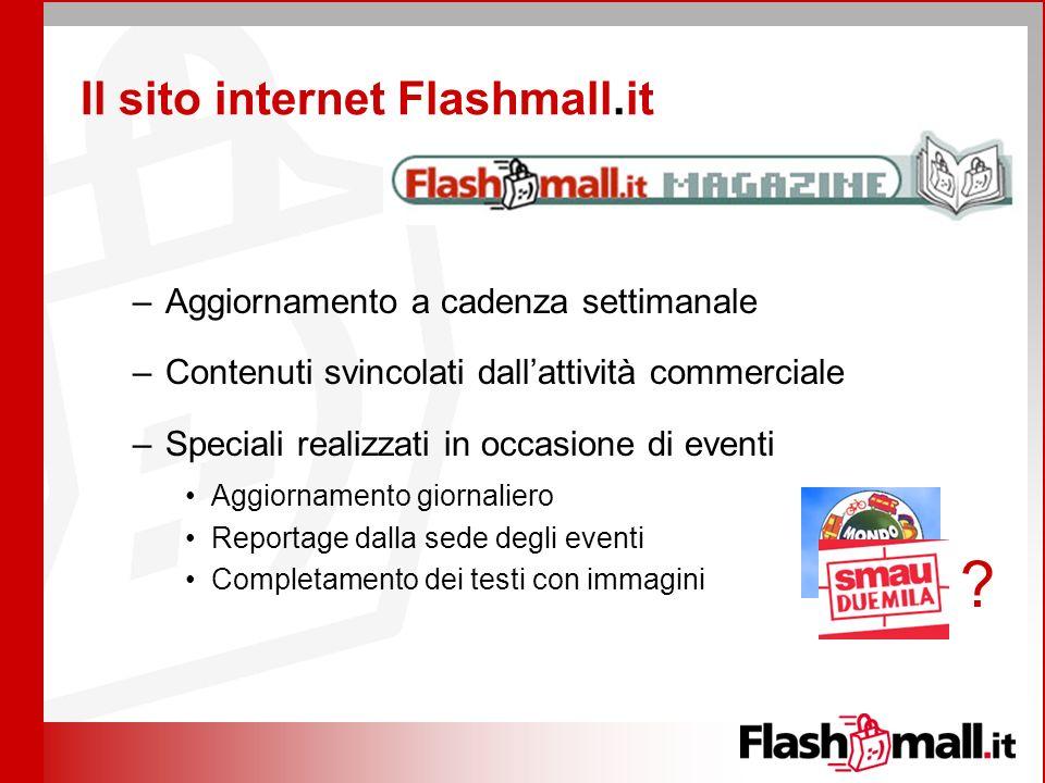 Il sito internet Flashmall.it –Aggiornamento a cadenza settimanale –Contenuti svincolati dallattività commerciale –Speciali realizzati in occasione di