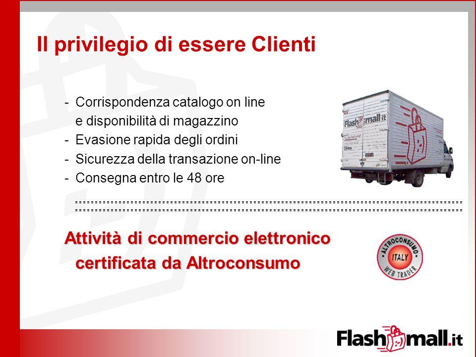 Il privilegio di essere Clienti -Corrispondenza catalogo on line e disponibilità di magazzino -Evasione rapida degli ordini -Sicurezza della transazio