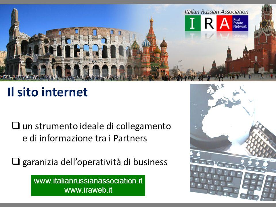 un strumento ideale di collegamento e di informazione tra i Partners garanizia delloperatività di business Il sito internet www.italianrussianassociation.it www.iraweb.it