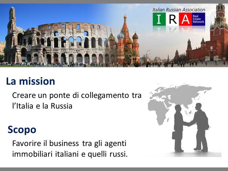 La mission Creare un ponte di collegamento tra lItalia e la Russia Favorire il business tra gli agenti immobiliari italiani e quelli russi.