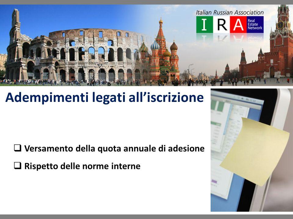 Adempimenti legati alliscrizione Versamento della quota annuale di adesione Rispetto delle norme interne