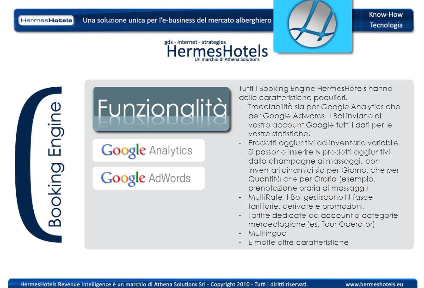 Tutti i Booking Engine HermesHotels hanno delle caratteristiche paculiari. -Tracciabilità sia per Google Analytics che per Google Adwords. I Bol invia