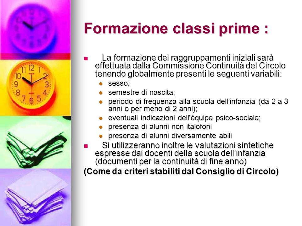 Formazione classi prime : La formazione dei raggruppamenti iniziali sarà effettuata dalla Commissione Continuità del Circolo tenendo globalmente prese