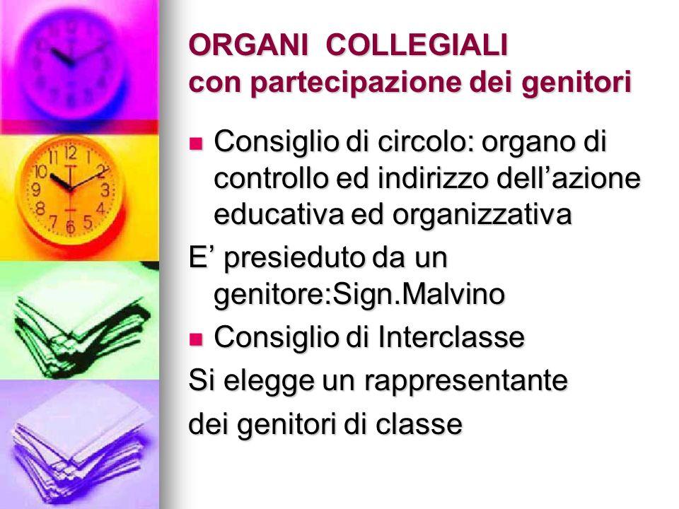 ORGANI COLLEGIALI con partecipazione dei genitori Consiglio di circolo: organo di controllo ed indirizzo dellazione educativa ed organizzativa Consigl