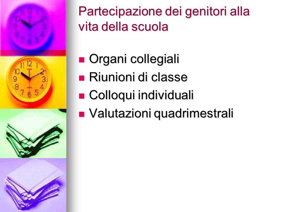 Partecipazione dei genitori alla vita della scuola Organi collegiali Organi collegiali Riunioni di classe Riunioni di classe Colloqui individuali Coll