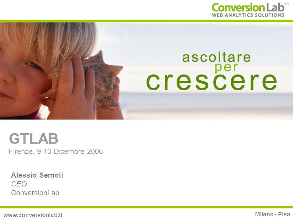 GTLAB Firenze, 9-10 Dicembre 2006 Alessio Semoli CEO ConversionLab www.conversionlab.it Milano - Pisa