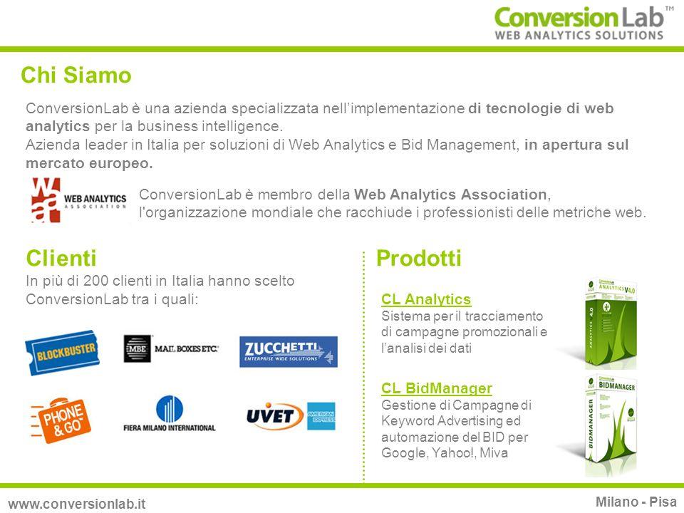Chi Siamo ConversionLab è una azienda specializzata nellimplementazione di tecnologie di web analytics per la business intelligence. Azienda leader in