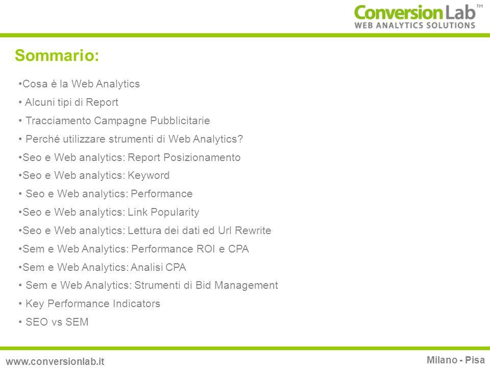 Sommario: www.conversionlab.it Milano - Pisa Cosa è la Web Analytics Alcuni tipi di Report Tracciamento Campagne Pubblicitarie Perché utilizzare strum