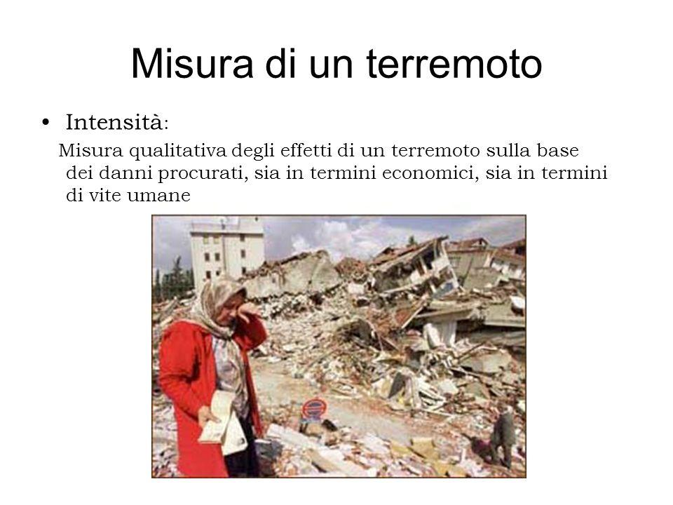 Misura di un terremoto Intensità : Misura qualitativa degli effetti di un terremoto sulla base dei danni procurati, sia in termini economici, sia in t