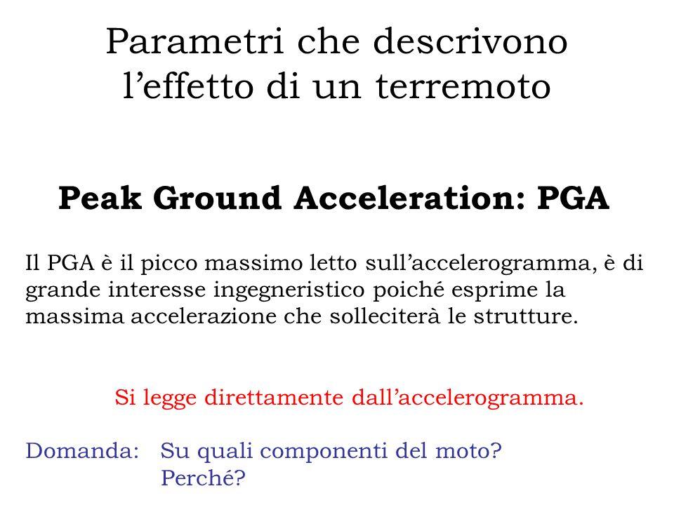 Parametri che descrivono leffetto di un terremoto Peak Ground Acceleration: PGA Il PGA è il picco massimo letto sullaccelerogramma, è di grande intere