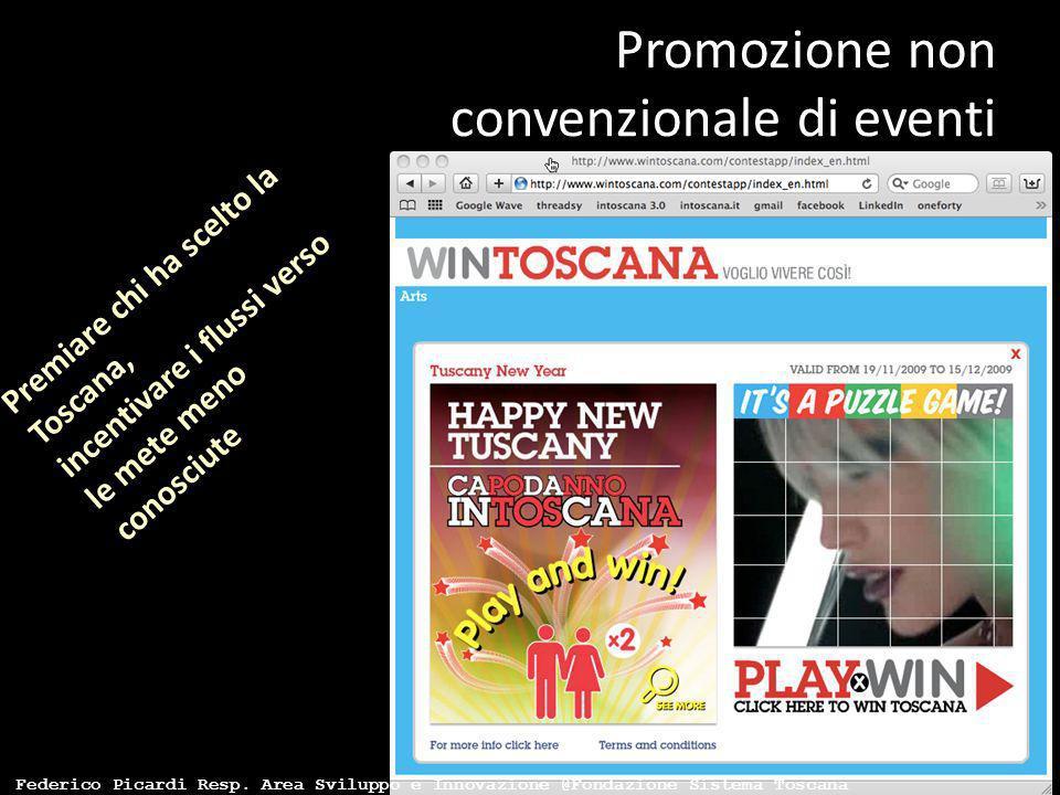 Promozione non convenzionale di eventi Premiare chi ha scelto la Toscana, incentivare i flussi verso le mete meno conosciute Federico Picardi Resp. Ar