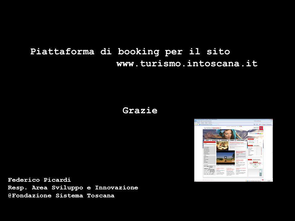 Piattaforma di booking per il sito www.turismo.intoscana.it Federico Picardi Resp. Area Sviluppo e Innovazione @Fondazione Sistema Toscana Grazie