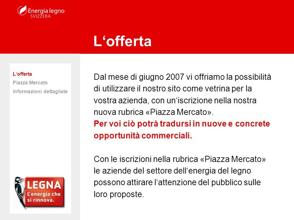Dal mese di giugno 2007 vi offriamo la possibilità di utilizzare il nostro sito come vetrina per la vostra azienda, con uniscrizione nella nostra nuova rubrica «Piazza Mercato».