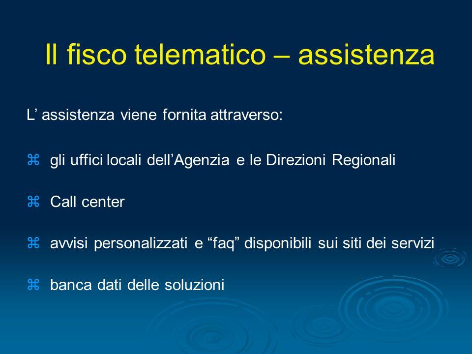 L assistenza viene fornita attraverso: zgli uffici locali dellAgenzia e le Direzioni Regionali zCall center zavvisi personalizzati e faq disponibili s