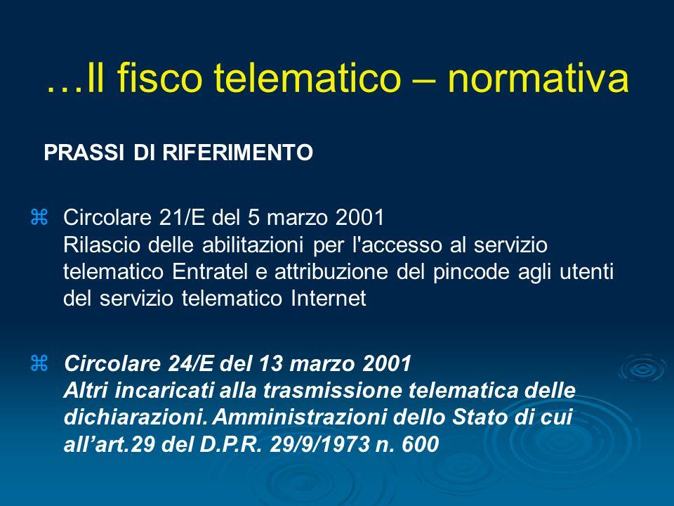 PRASSI DI RIFERIMENTO zCircolare 21/E del 5 marzo 2001 Rilascio delle abilitazioni per l'accesso al servizio telematico Entratel e attribuzione del pi