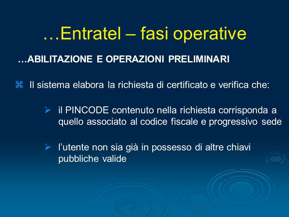 …ABILITAZIONE E OPERAZIONI PRELIMINARI zIl sistema elabora la richiesta di certificato e verifica che: il PINCODE contenuto nella richiesta corrispond