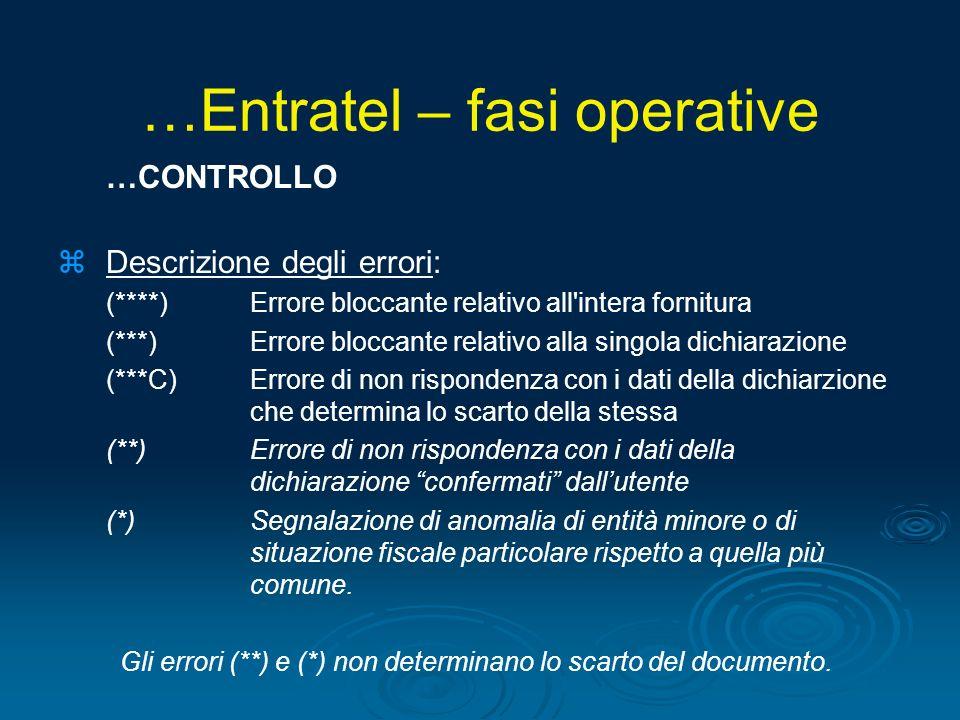 …CONTROLLO zDescrizione degli errori: (****)Errore bloccante relativo all'intera fornitura (***)Errore bloccante relativo alla singola dichiarazione (
