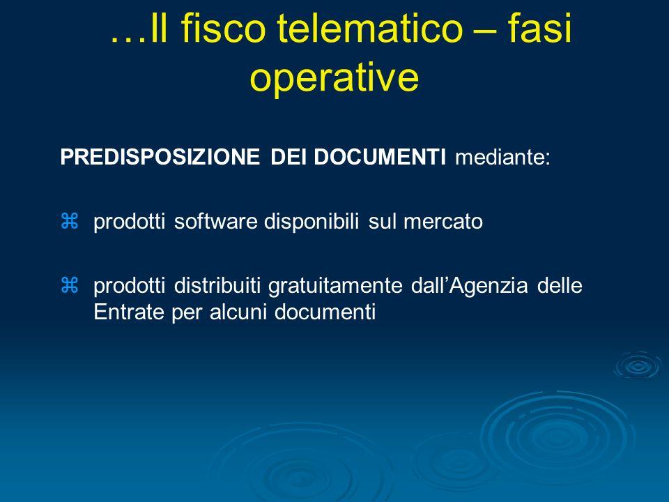 PREDISPOSIZIONE DEI DOCUMENTI mediante: zprodotti software disponibili sul mercato zprodotti distribuiti gratuitamente dallAgenzia delle Entrate per a