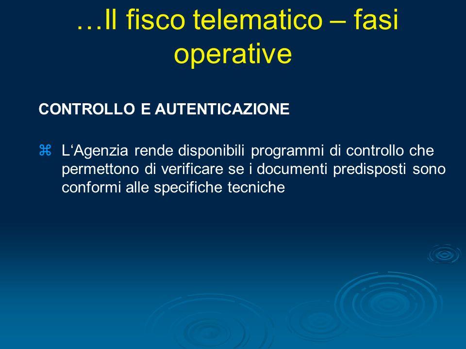 CONTROLLO E AUTENTICAZIONE zLAgenzia rende disponibili programmi di controllo che permettono di verificare se i documenti predisposti sono conformi al