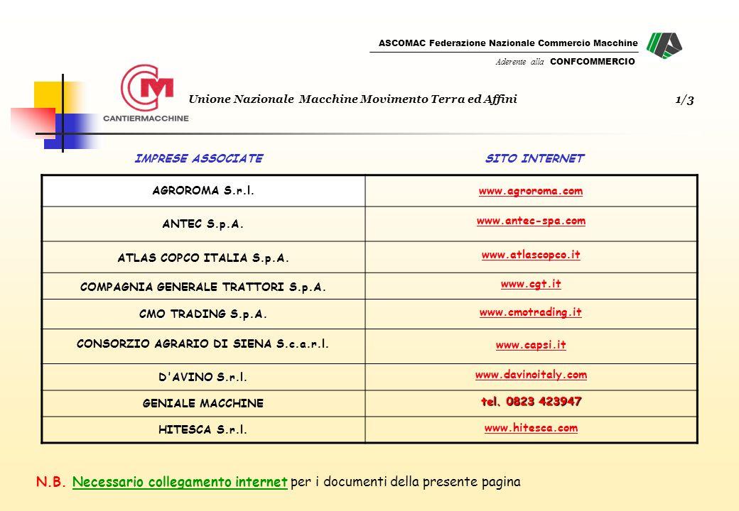 ASCOMAC Federazione Nazionale Commercio Macchine Aderente alla CONFCOMMERCIO SITO INTERNETIMPRESE ASSOCIATE N.B.