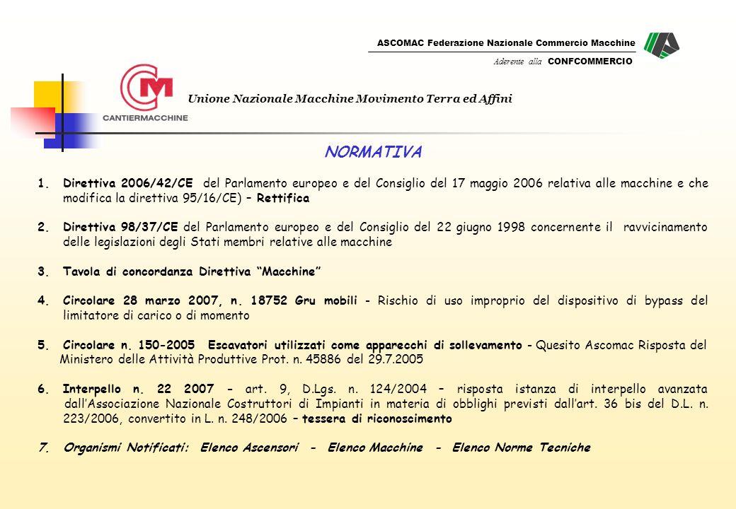 ASCOMAC Federazione Nazionale Commercio Macchine Aderente alla CONFCOMMERCIO Unione Nazionale Macchine Movimento Terra ed Affini NORMATIVA 1.Direttiva 2006/42/CE del Parlamento europeo e del Consiglio del 17 maggio 2006 relativa alle macchine e che modifica la direttiva 95/16/CE) – Rettifica 2.Direttiva 98/37/CE del Parlamento europeo e del Consiglio del 22 giugno 1998 concernente il ravvicinamento delle legislazioni degli Stati membri relative alle macchine 3.Tavola di concordanza Direttiva Macchine 4.Circolare 28 marzo 2007, n.