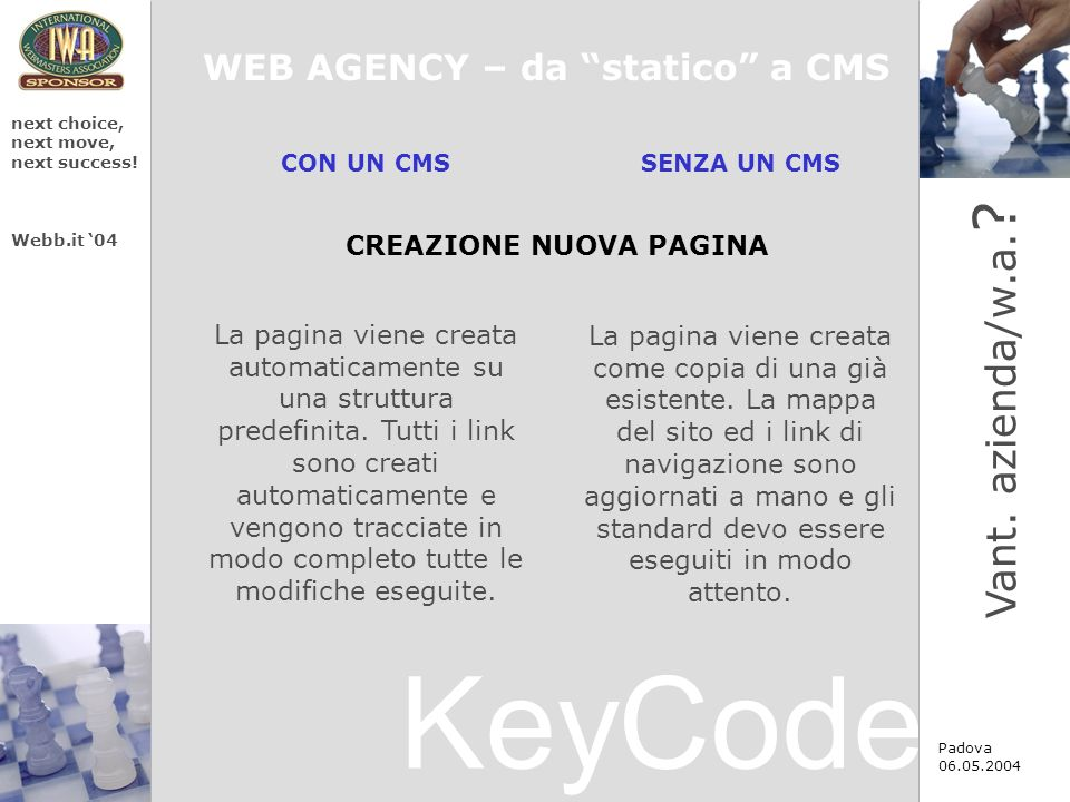 KeyCode next choice, next move, next success. Webb.it 04 Padova 06.05.2004 Vant.