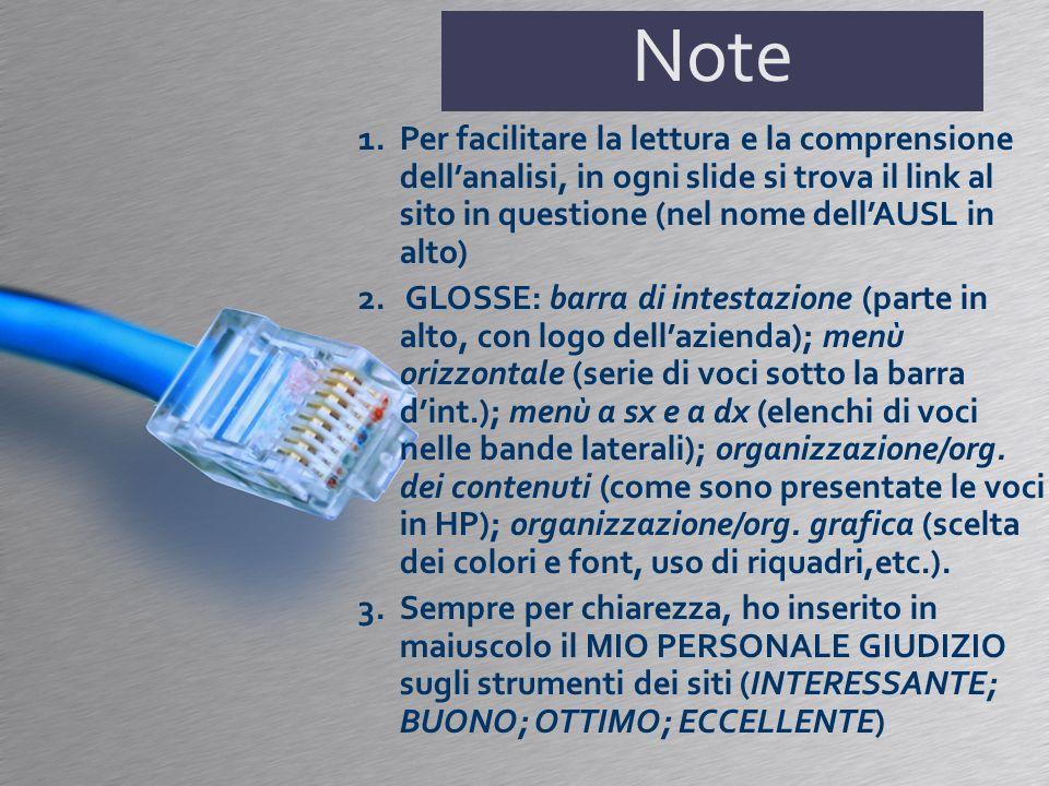 Note 1.Per facilitare la lettura e la comprensione dellanalisi, in ogni slide si trova il link al sito in questione (nel nome dellAUSL in alto) 2.