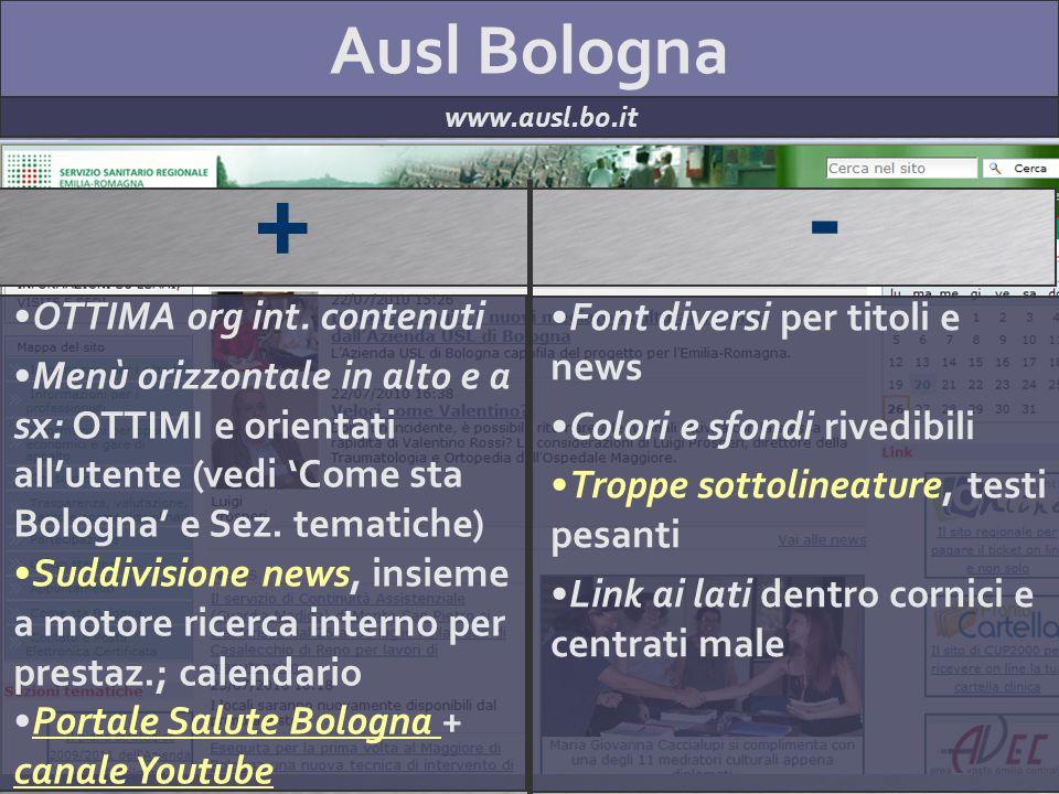 Ausl Bologna www.ausl.bo.it + - OTTIMA org int.